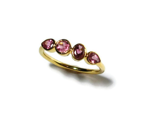 Pink Tourmaline 4 Stone Ring, 14K Gold Bezel, Low Profile, Made to Order - MiShelli