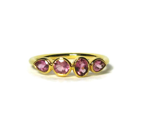 Tourmaline Ring 14k Gold, Multistone Gemstone Ring, Tourmaline Jewelry, White, Yellow, or Rose Gold - MiShelli