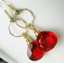 Load image into Gallery viewer, Red Quartz Chandelier Gold Earrings - MiShelli
