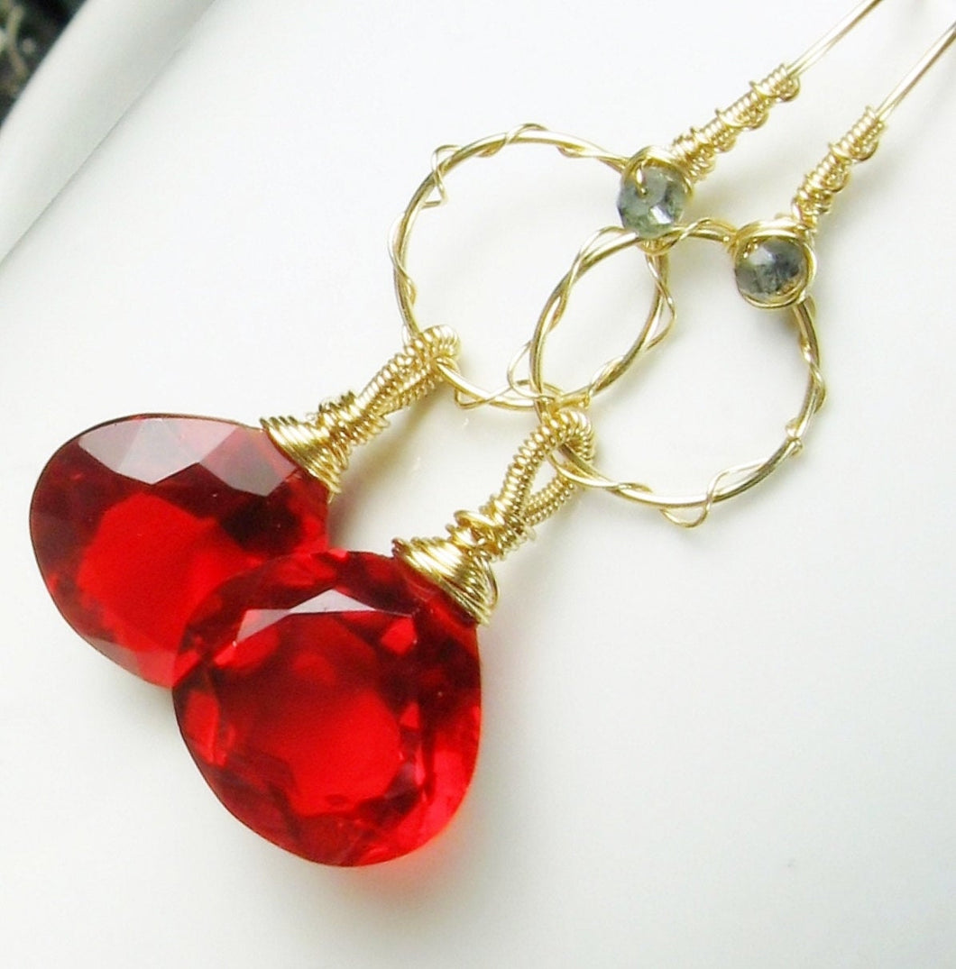 Red Quartz Chandelier Gold Earrings, Sculptured, Wire Wrapped, Briolette Gemstone Dangle, Statement Earrings, Gift for Her, Gold Fill Hoops - MiShelli