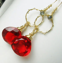 Load image into Gallery viewer, Red Quartz Chandelier Gold Earrings, Sculptured, Wire Wrapped, Briolette Gemstone Dangle, Statement Earrings, Gift for Her, Gold Fill Hoops - MiShelli