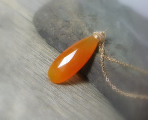 Gemstone solitaire pendant, orange chalcedony gold necklace, elongated, layering pendant - MiShelli