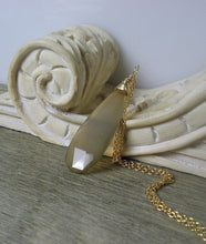 Load image into Gallery viewer, Layering Necklace, Long Gemstone Pendant, Grey Chalcedony, Elongated, Gold Filled - MiShelli