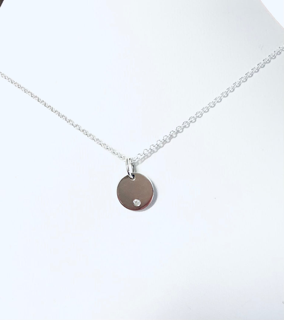 Petite Diamond Disc Necklace, Sterling Silver - MiShelli