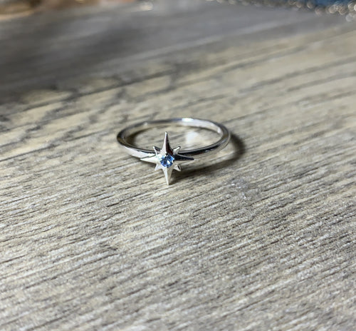Star Birthstone Ring 14K Yellow Gold or Sterling Silver - MiShelli