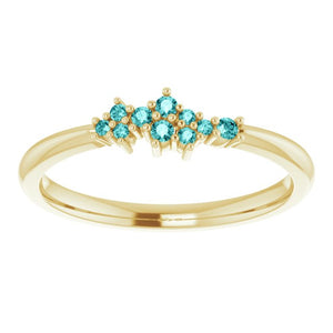 18K Gold Teal Blue Diamond Cluster Stacking Ring - MiShelli