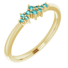 Load image into Gallery viewer, 18K Gold Teal Blue Diamond Cluster Stacking Ring - MiShelli
