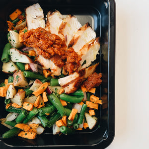 Chicken and Butternut Squash Hash with Romesco Sauce