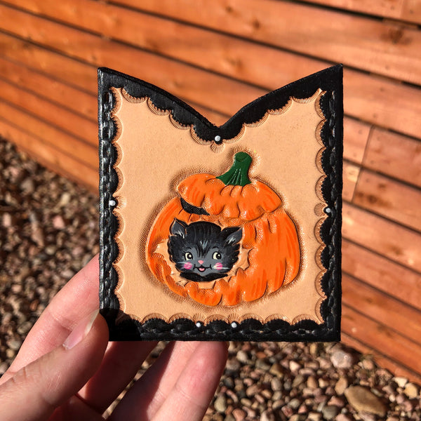 Kitty Pumpkin Card Holder