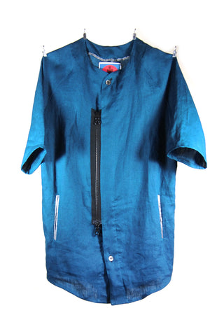 Mod. 6 Col. 1 - Blue Linen Baseball Shirt
