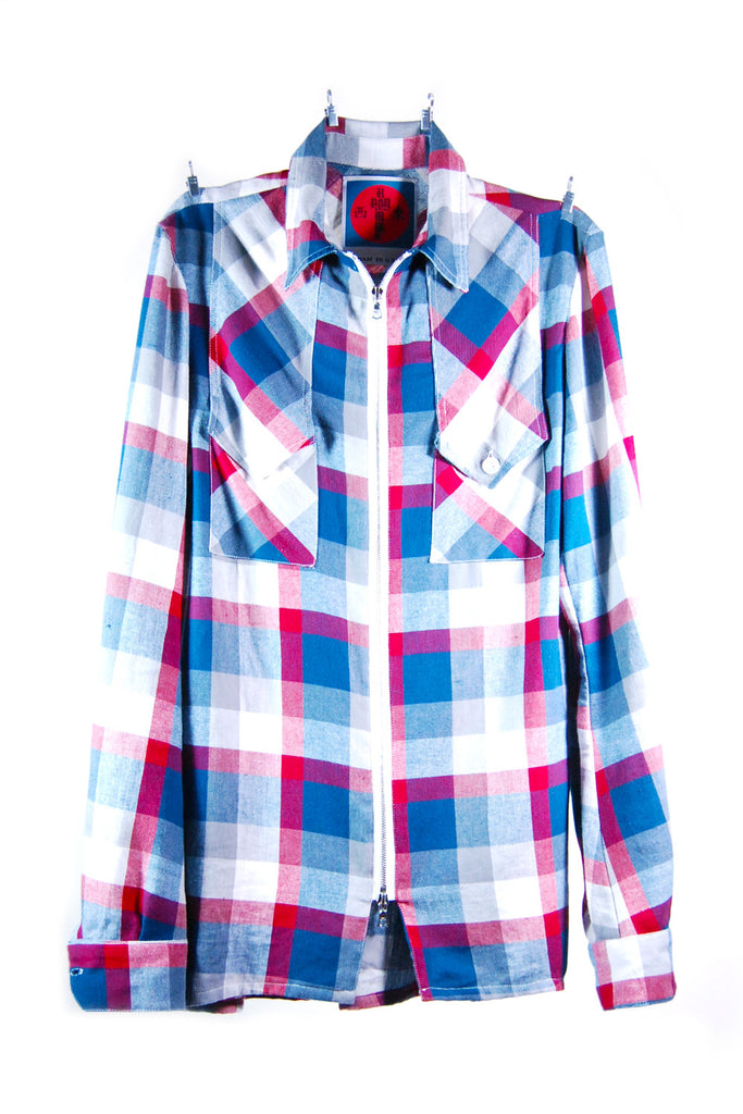 Mod. 4 Col. 1 - Plaid Zip-Up Shirt