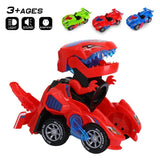 3D Transforming Dinosaur Toy LED Car With Light Sound for Kids - Red - Baby & Kids