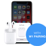 AirPods 2-Style Earphones With W1 Chip Pairing, Wireless Charging Case, Bluetooth 5.0