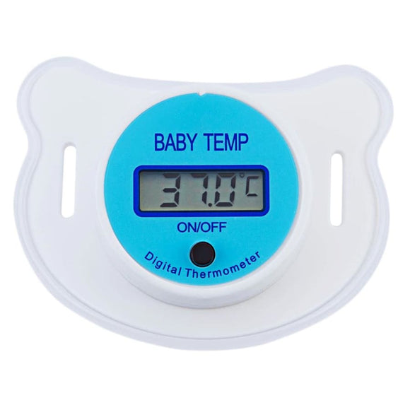 Baby Pacifier Thermometer with LCD Display - Blue
