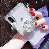 Diamond Border Case with Diamond Stand Holder For iPhone