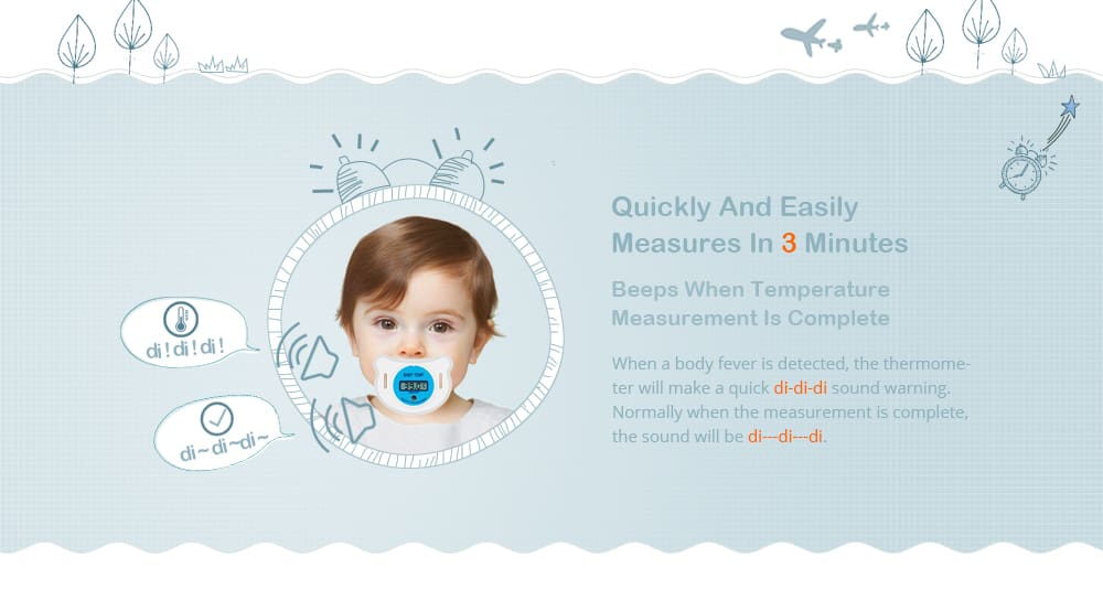Portable LCD Digital Babies Mouth Pacifier Thermometer with Protective Storage Cover