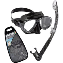 Load image into Gallery viewer, Cressi Marea Mask and Dry Snorkel Set Black