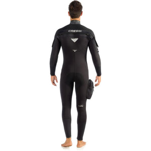 Cressi Ice Man Wetsuit 7mm semidry suit with hood and pocket back view
