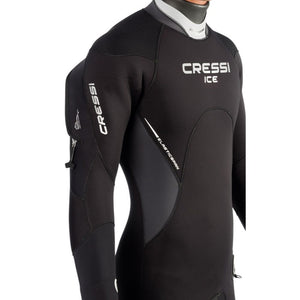 Cressi Ice Man Wetsuit 7mm semidry suit with hood and pocket chest detail feature