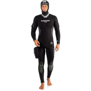 Cressi Ice Man Wetsuit 7mm semidry suit with hood and pocket iceman men