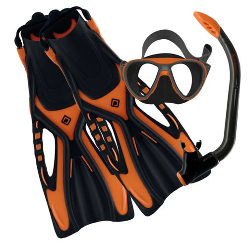 ocenapro junior youth mask snorkel fin set orange