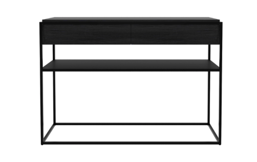 monolit console, 2 drawers, finish: varnished black oak,  L 48"