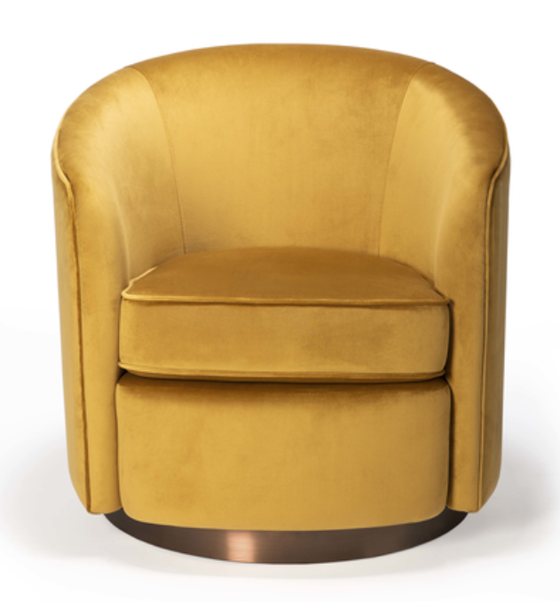 ethnicraft swivel armchair, gold velvet, W 29"