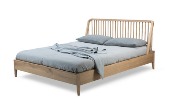 ethnicraft oak spindle bed - with slats - US queen size - varnished