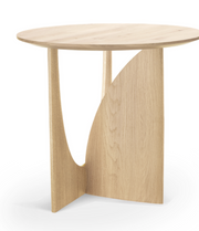 ethnicraft, varnished oak geometric side table, W 20"