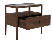 ethnicraft walnut spindle bedside table - 1 drawer, L 22"