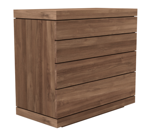 ethnicraft teak burger chest of drawers - 4 drawers, W 39"
