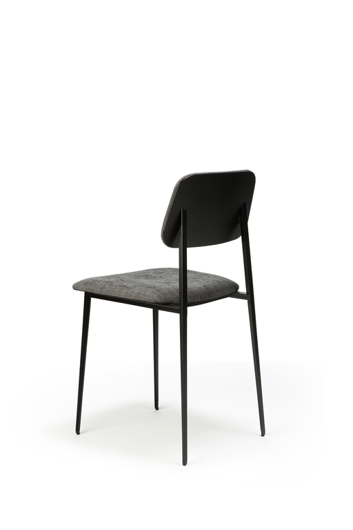 ethnicraft dc dining chair; dark grey fabirc.