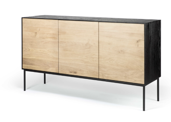 ethnicraft oak blackbird sideboard - 3 doors, finish: varnished, base: black metal, L 59"