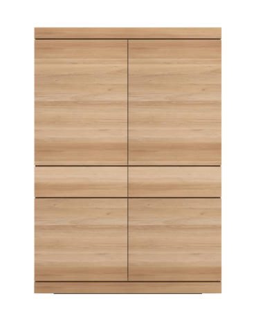 ethnicraft oak shadow storage cupboard - 4 doors, 2 drawers, L 43"