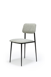 ethnicraft dc dining chair; light grey fabric.