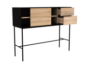 ethnicraft oak blackbird console, 1 sliding door, 2 drawers,  L 52"