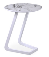 cite le end table, white marble finish top, white lacquer base,