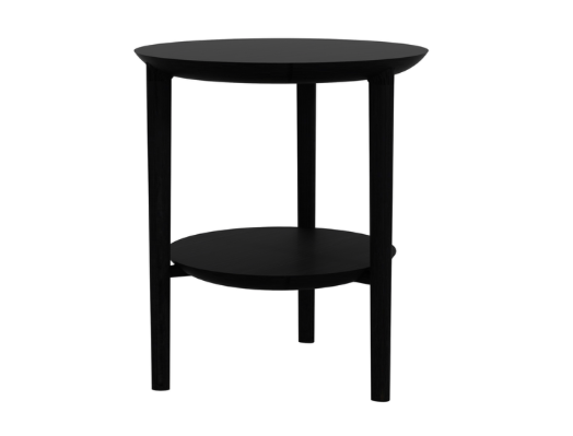 ethnicraft oak bok side table, black, varnished, Ø 20"