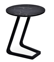 cite le end table, black marble finish top, black lacquer base,