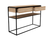 ethnicraft monolit oak console, 2 drawers, black metal frame, L 48"