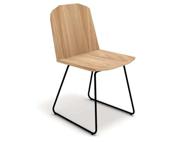 ethnicraft oak facette dining chair, finish: varnished, L 17"