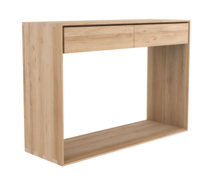 ethnicraft oak nordic console, 2 drawers,  L 47"