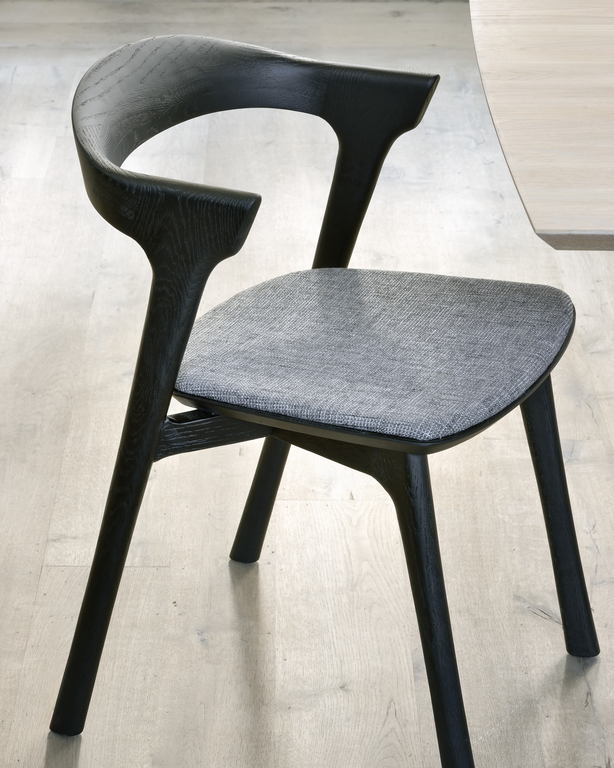 ethnicraft black stained oak bok dining chair, grey fabric seat, L 20"