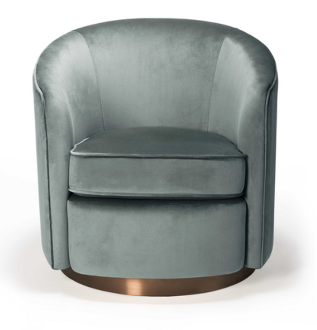 ethnicraft swivel armchair, aqua velvet, W 29"