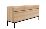 ethnicraft oak ligna sideboard - 3 doors - 3 drawers, black base, L 65"