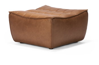 ethnicraft n701 sofa, footstool, old saddle, W 28"