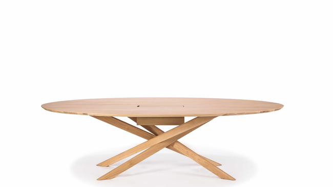ethnicraft oak mikado meeting table - varnished, L 105"