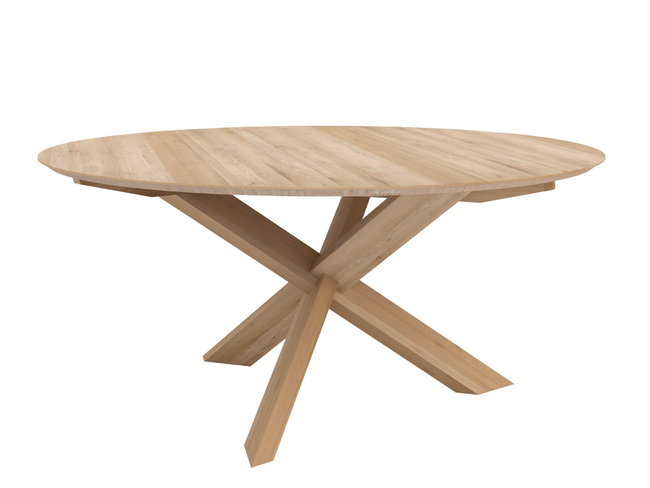 ethnicraft oak circle dining table, varnished, Ø 64"