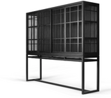 ethnicraft oak burung storage cupboard - 4 sliding doors, finish: black varnished oak, L 79"