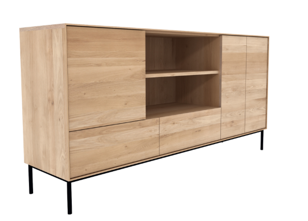 ethnicraft oak whitebird sideboard, 3 doors - 2 drawers
